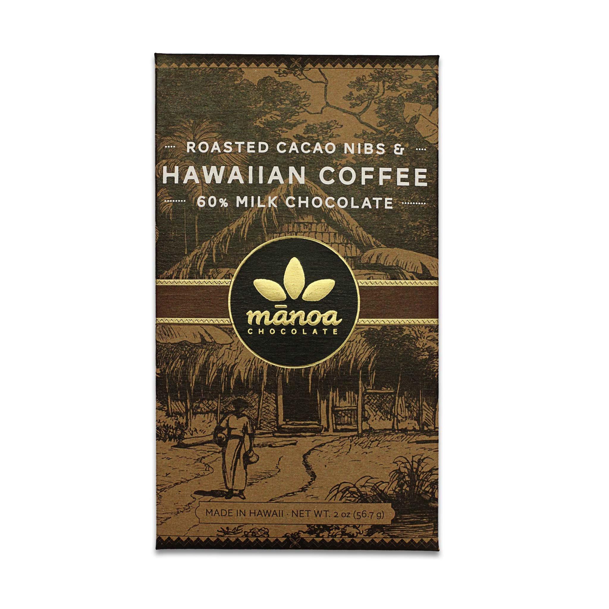 Chocolat au Lait Manoa – Eclats Fèves Cacao & Café