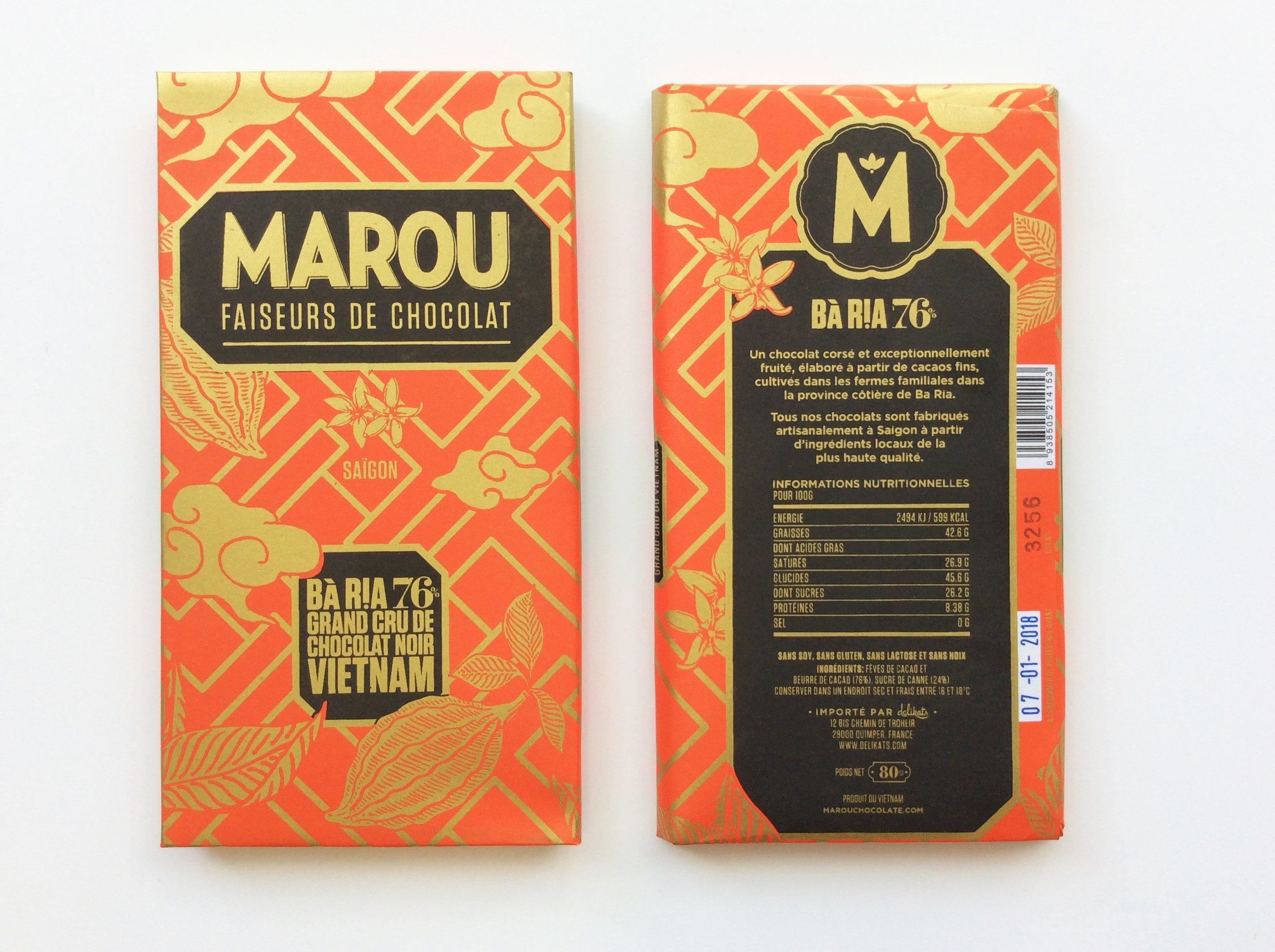 Chocolat Noir Marou – Ba Ria 76% de Cacao