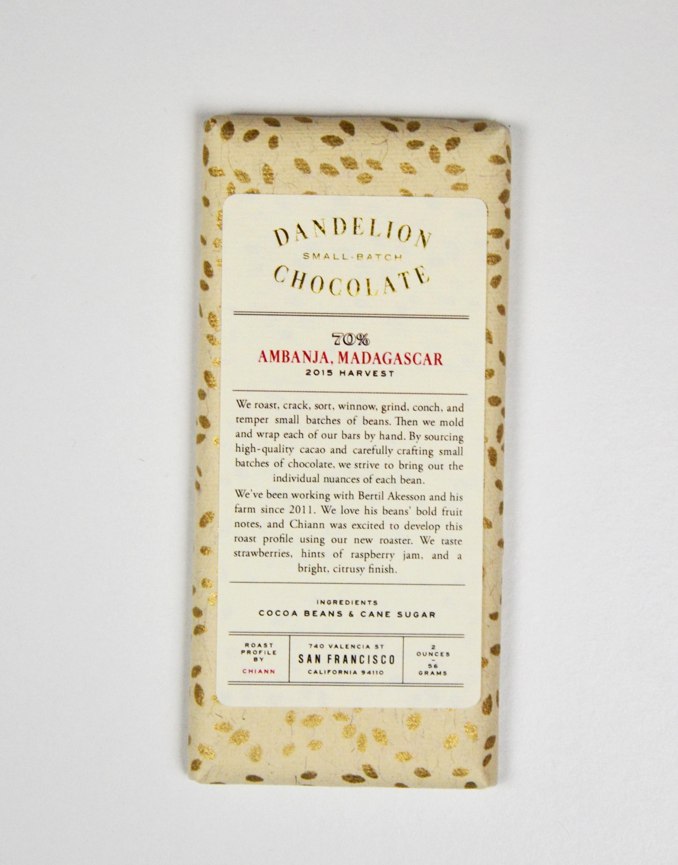 Chocolat Noir Dandelion – Madagascar 70%